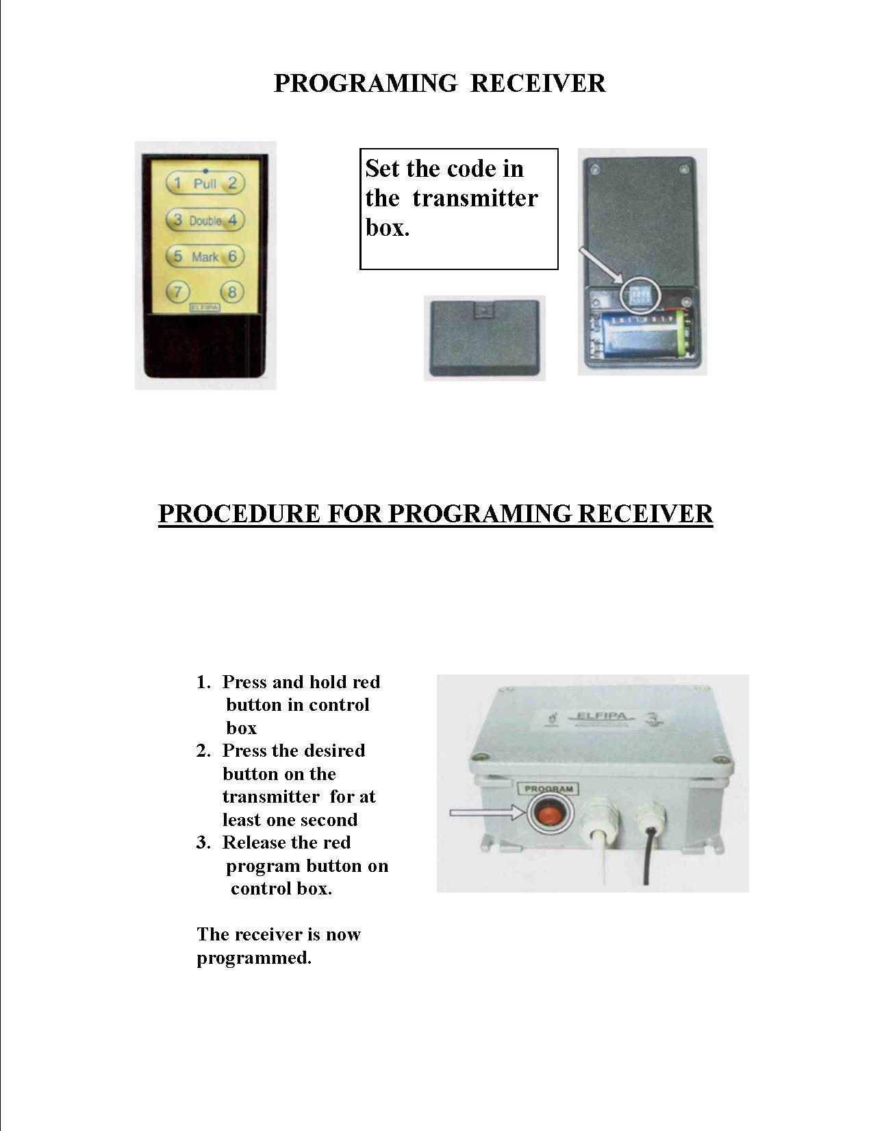Briley Mfg Other Manuals And Instructions Wiring 2 Schematics In One Box Diagram Long Range Testa Rosa Elfipa Ata Schematic For Trap Single Machine Programming The Receiver To Transmitter